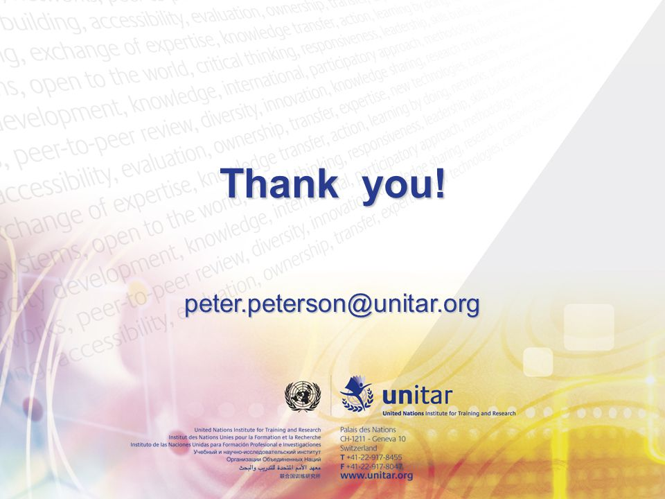Thank you! peter.peterson@unitar.org