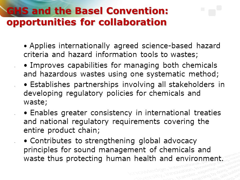 GHS and the Basel Convention: opportunities for collaboration