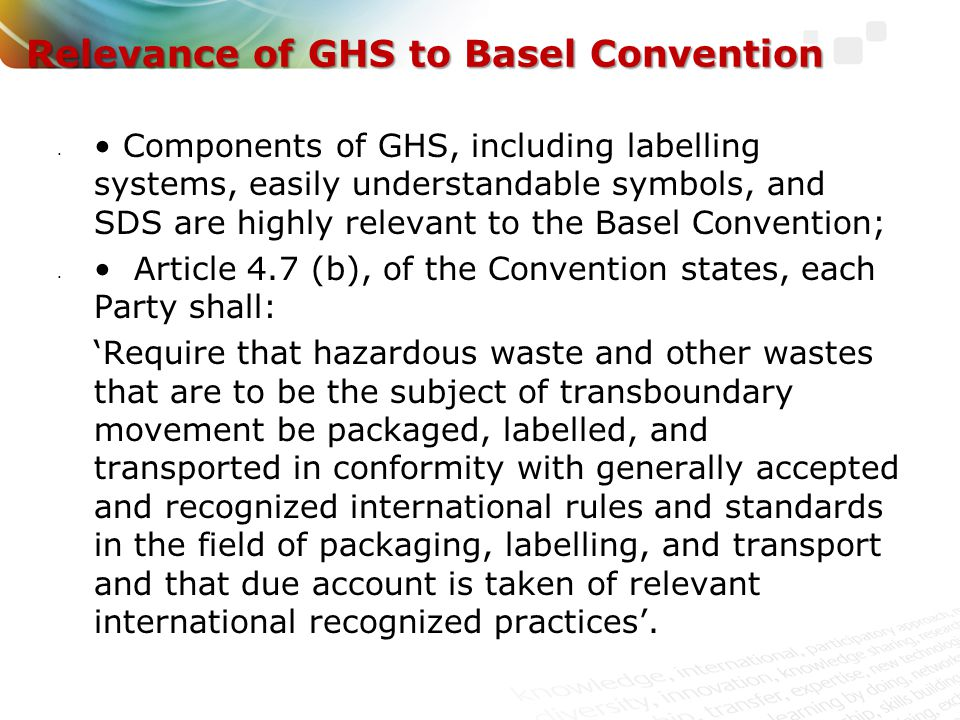 Relevance of GHS to Basel Convention