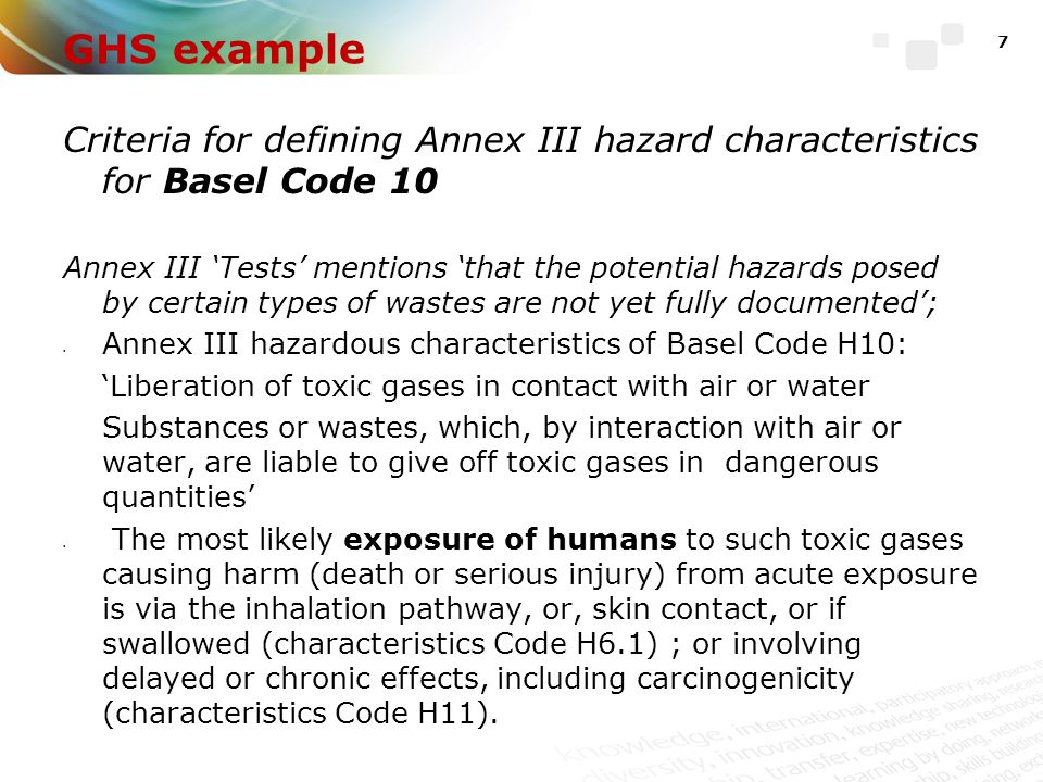 GHS example Criteria for defining Annex III hazard characteristics for Basel Code 10.