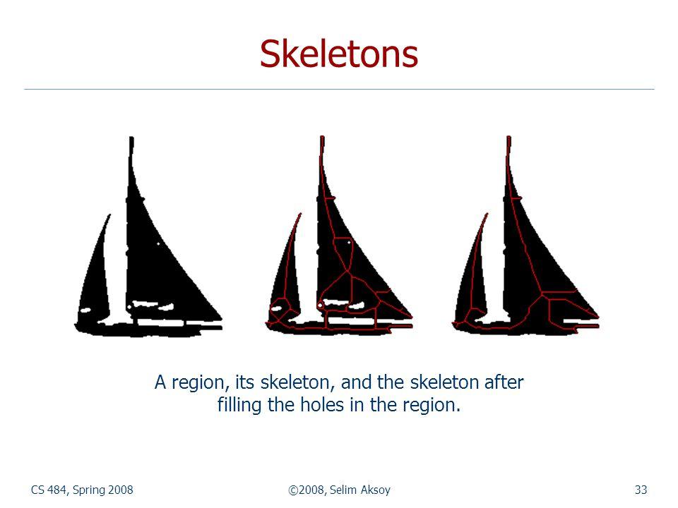 Skeletons A region, its skeleton, and the skeleton after