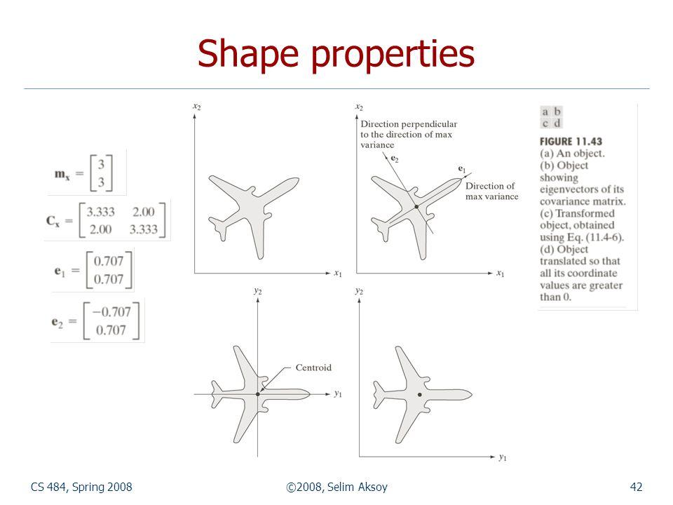 Shape properties CS 484, Spring 2008 ©2008, Selim Aksoy