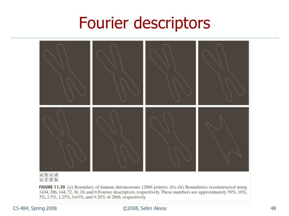 Fourier descriptors CS 484, Spring 2008 ©2008, Selim Aksoy