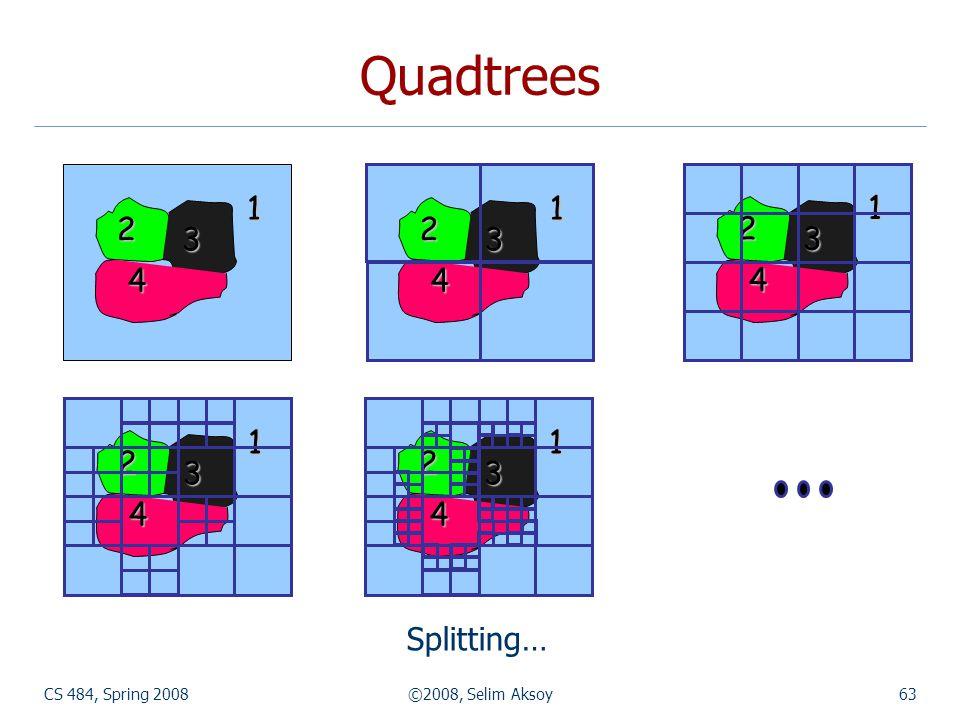 Quadtrees 1 2 3 4 1 2 3 4 1 2 3 4 1 2 3 4 1 2 3 4 Splitting… CS 484, Spring 2008 ©2008, Selim Aksoy