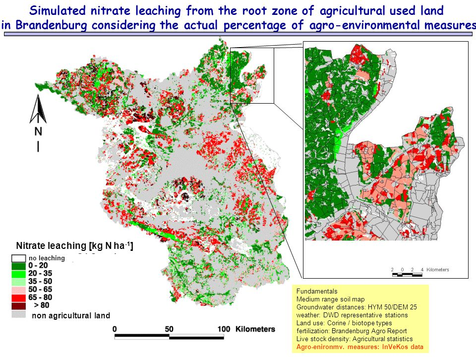 Simulated nitrate leaching from the root zone of agricultural used land