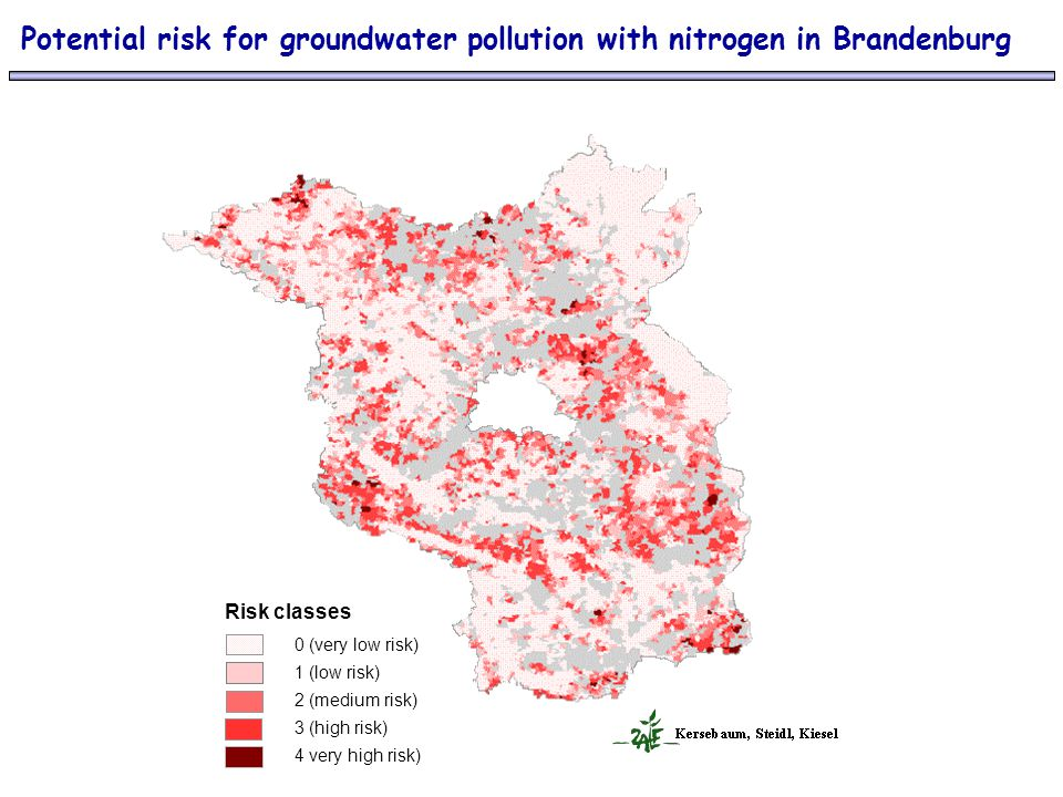 Potential risk for groundwater pollution with nitrogen in Brandenburg