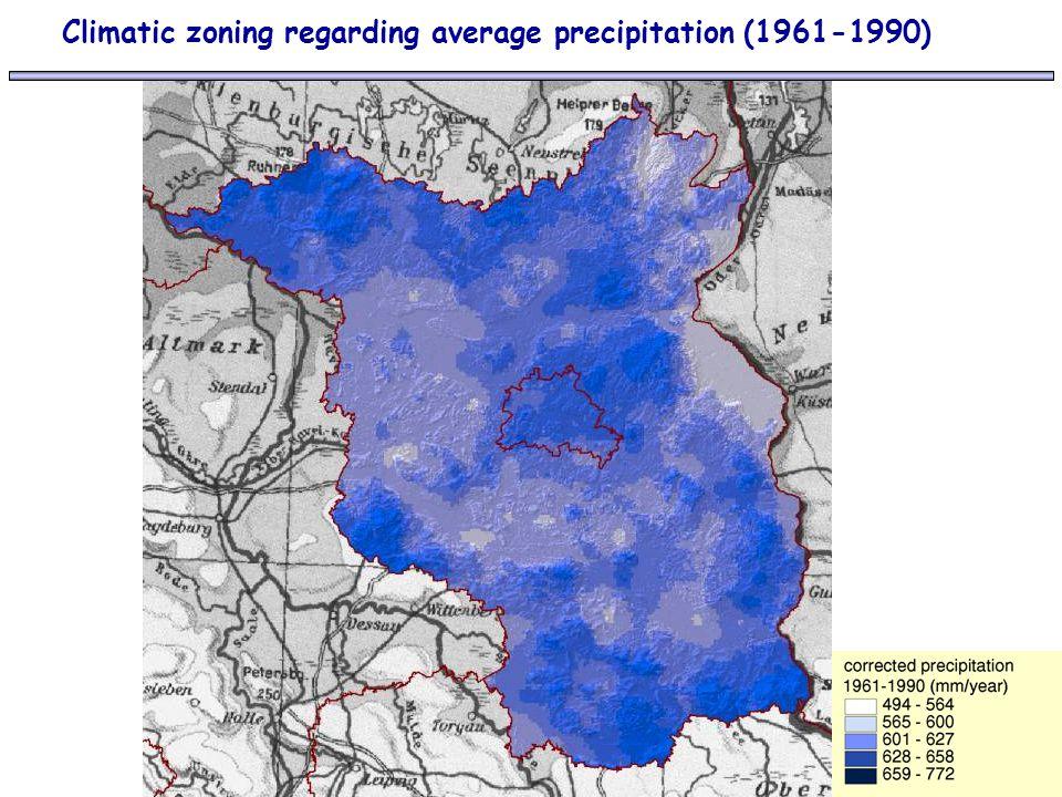 Climatic zoning regarding average precipitation (1961-1990)