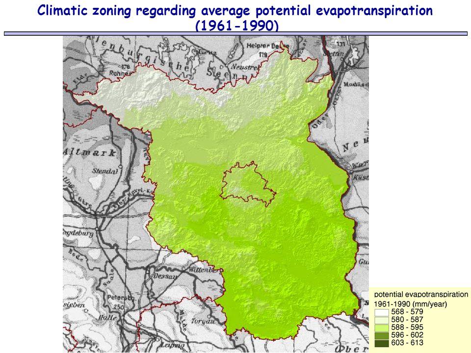 Climatic zoning regarding average potential evapotranspiration