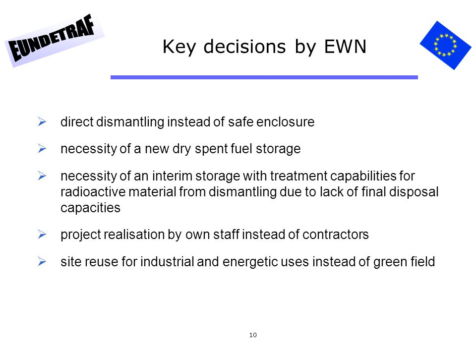 Key decisions by EWN direct dismantling instead of safe enclosure
