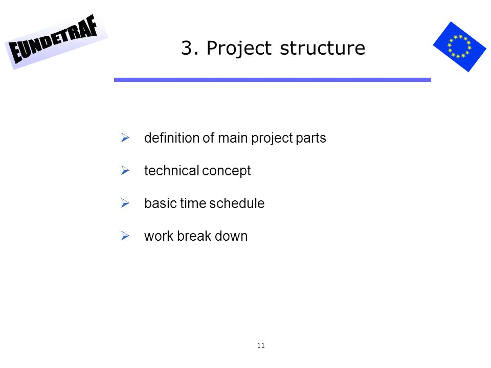 3. Project structure definition of main project parts