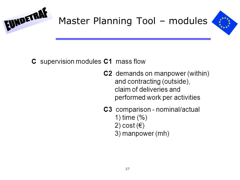 Master Planning Tool – modules