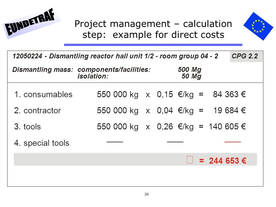 Project management – calculation step: example for direct costs