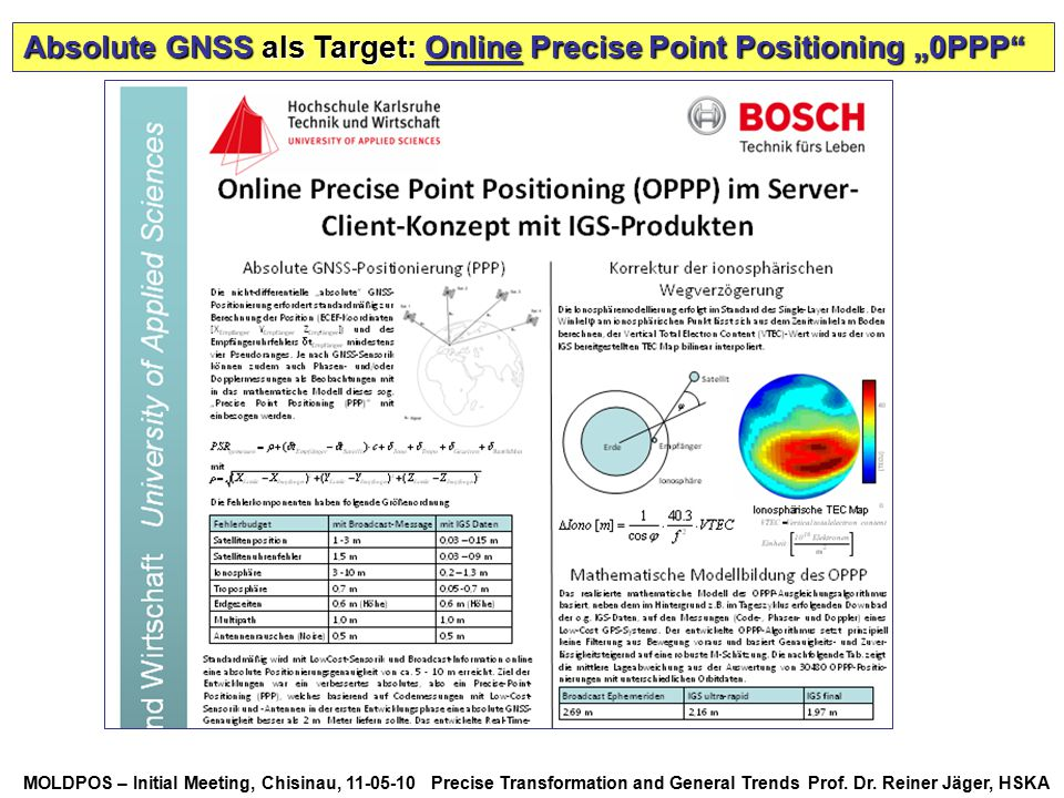 "Absolute GNSS als Target: Online Precise Point Positioning ""0PPP"