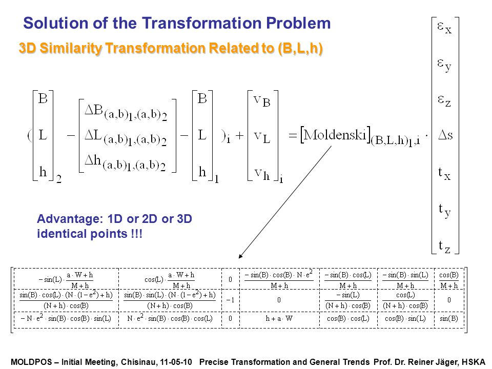 Solution of the Transformation Problem