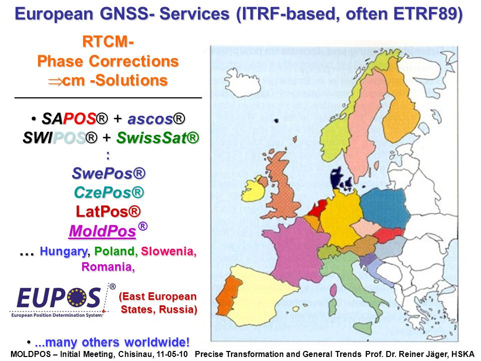 European GNSS- Services (ITRF-based, often ETRF89)