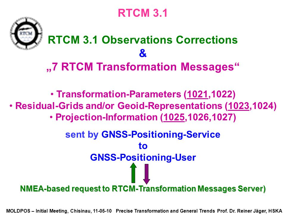 "RTCM 3.1 Observations Corrections & ""7 RTCM Transformation Messages"