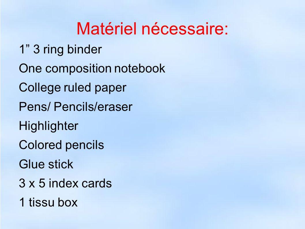 Matériel nécessaire: 1 3 ring binder One composition notebook