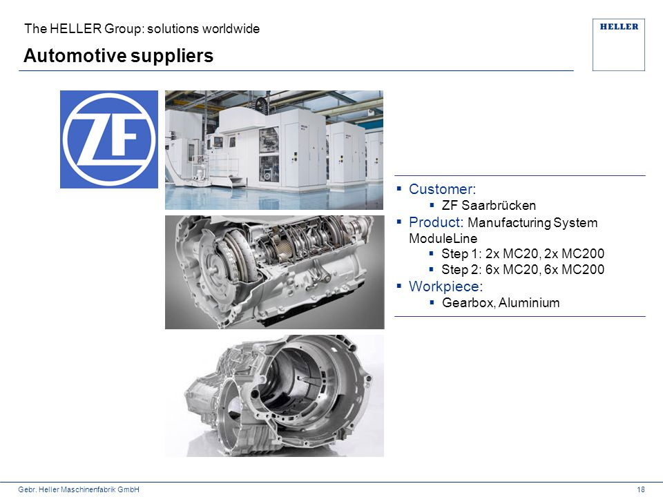 Automotive suppliers Customer: