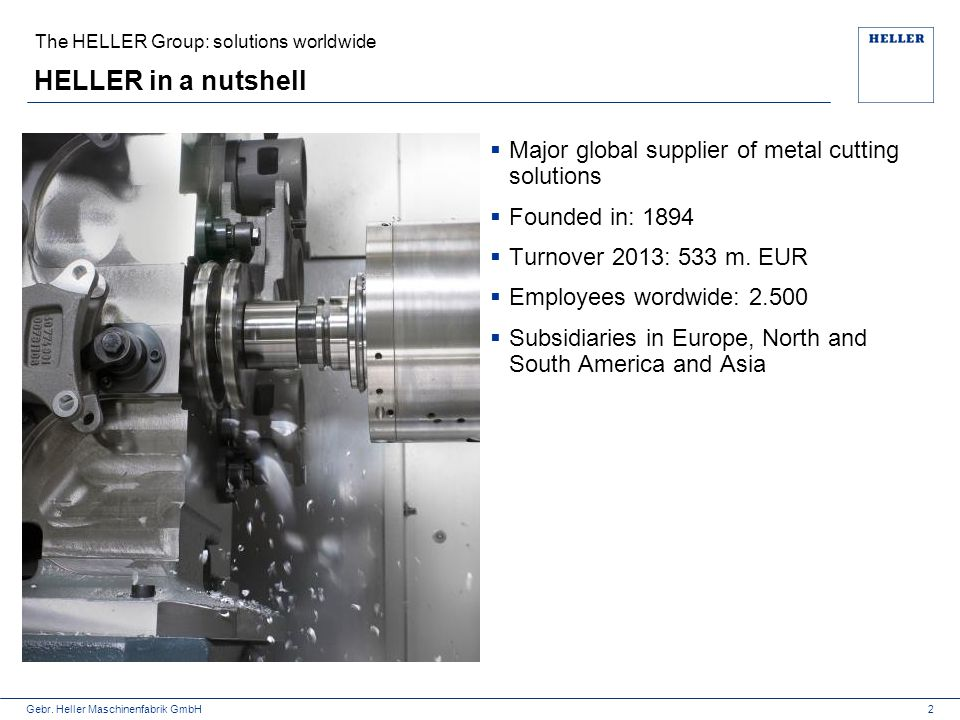 HELLER in a nutshell Major global supplier of metal cutting solutions