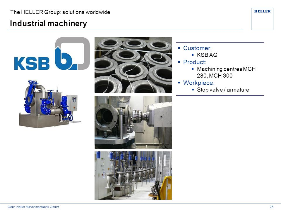 Industrial machinery Customer: Product: Workpiece: