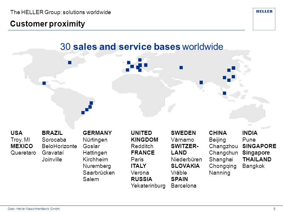30 sales and service bases worldwide