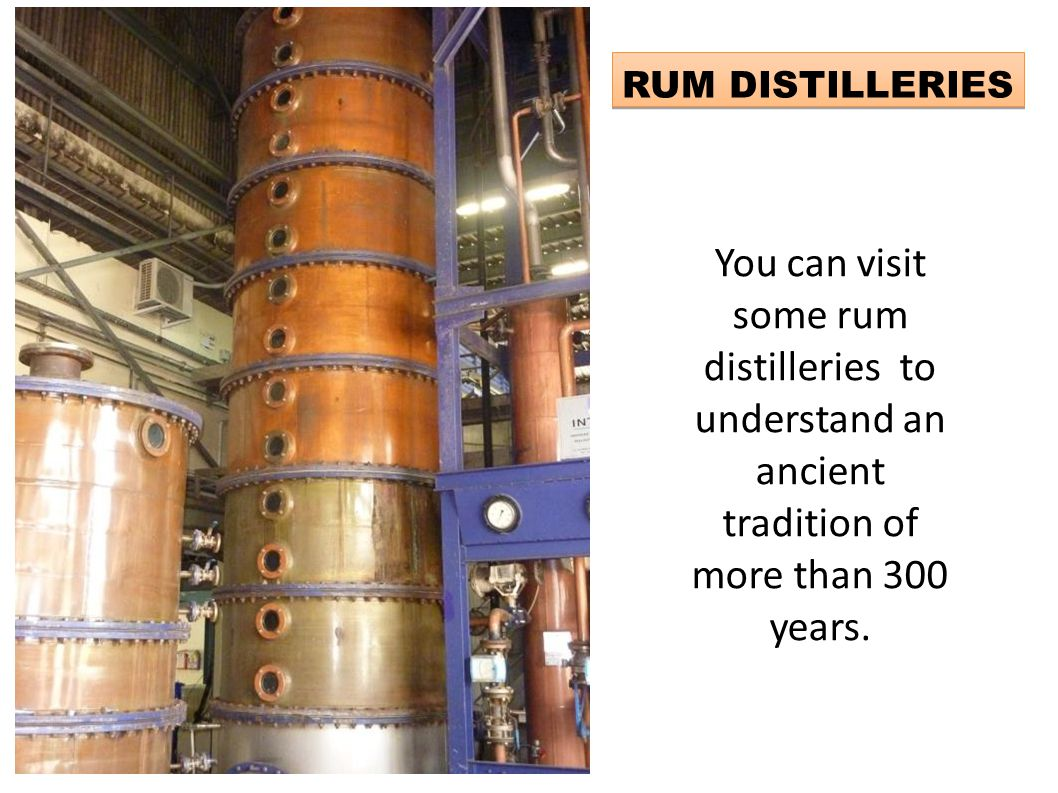 RUM DISTILLERIES You can visit some rum distilleries to understand an ancient tradition of more than 300 years.