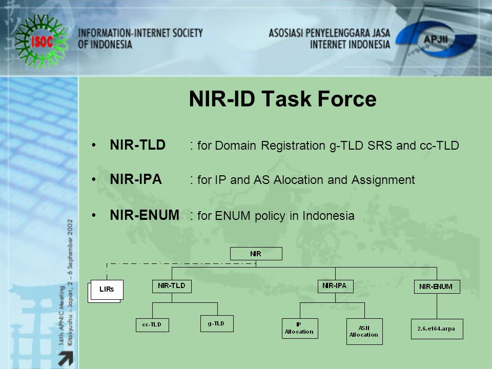 NIR-ID Task Force NIR-TLD : for Domain Registration g-TLD SRS and cc-TLD. NIR-IPA : for IP and AS Alocation and Assignment.