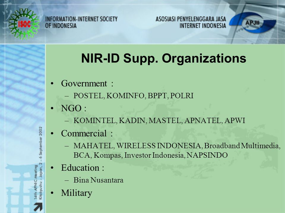NIR-ID Supp. Organizations
