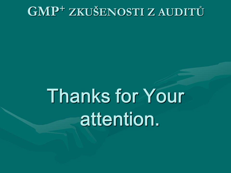 GMP+ ZKUŠENOSTI Z AUDITŮ Thanks for Your attention.