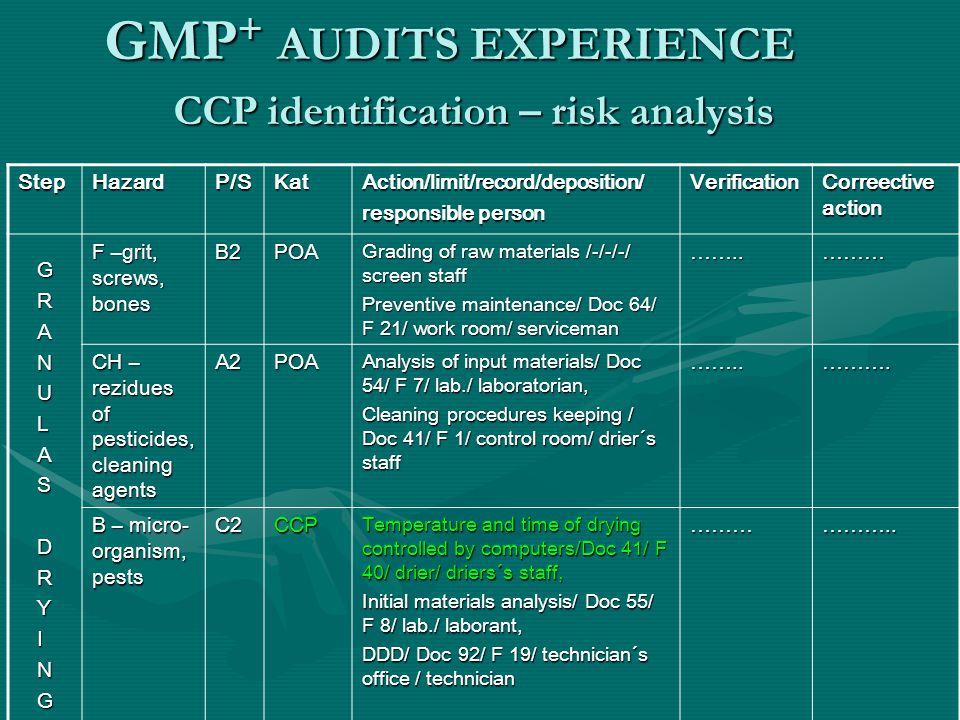CCP identification – risk analysis
