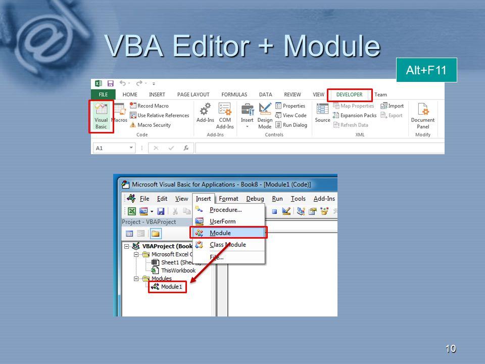 VBA Editor + Module Alt+F11 003