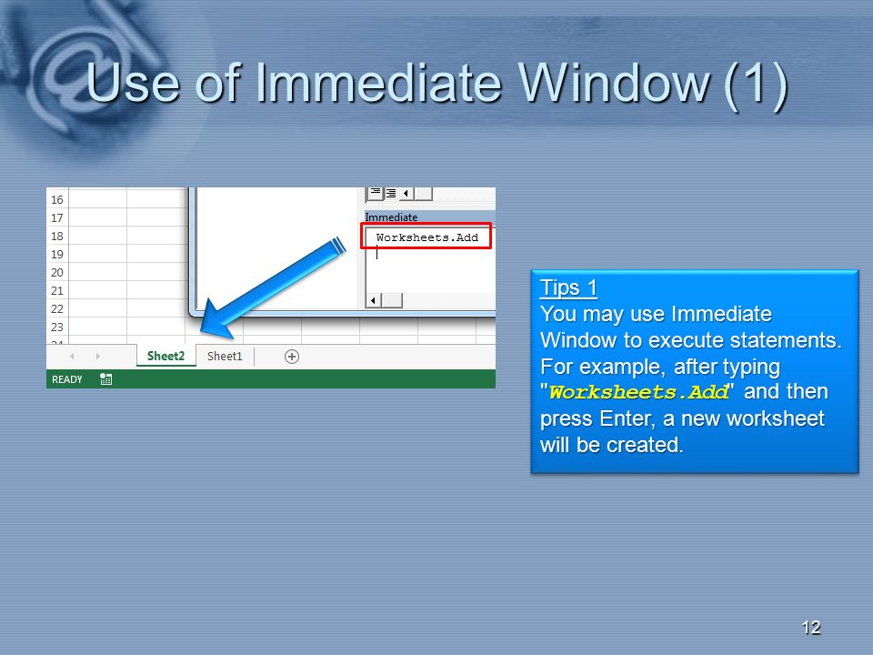 Use of Immediate Window (1)