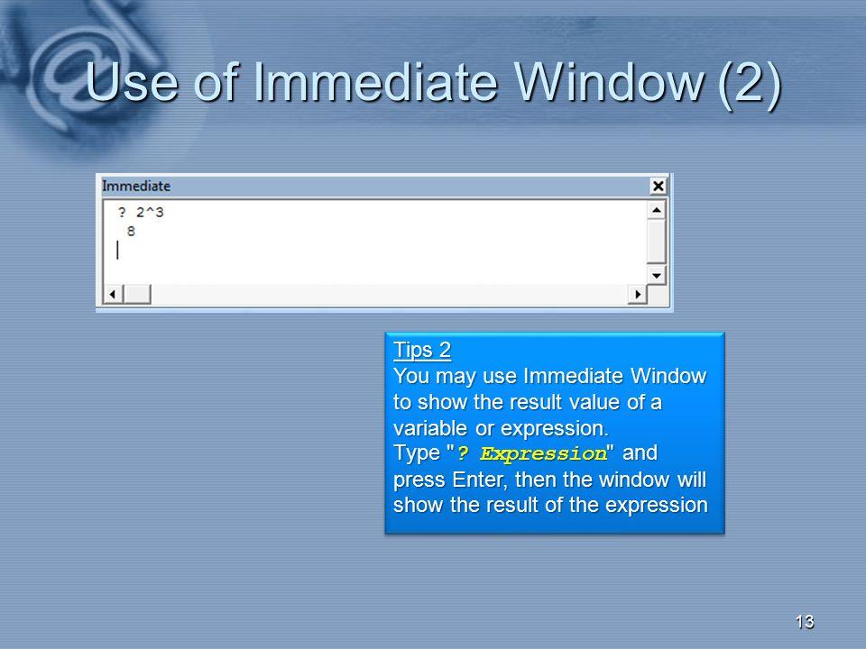 Use of Immediate Window (2)