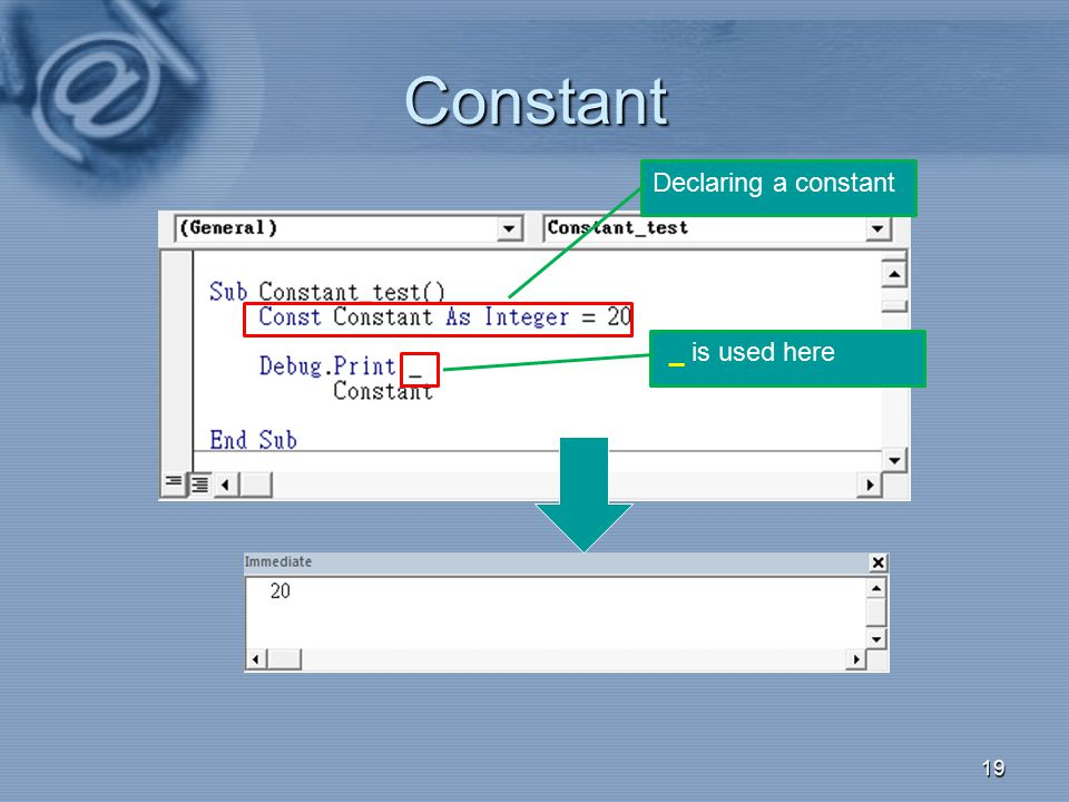 Constant Declaring a constant _ is used here 008