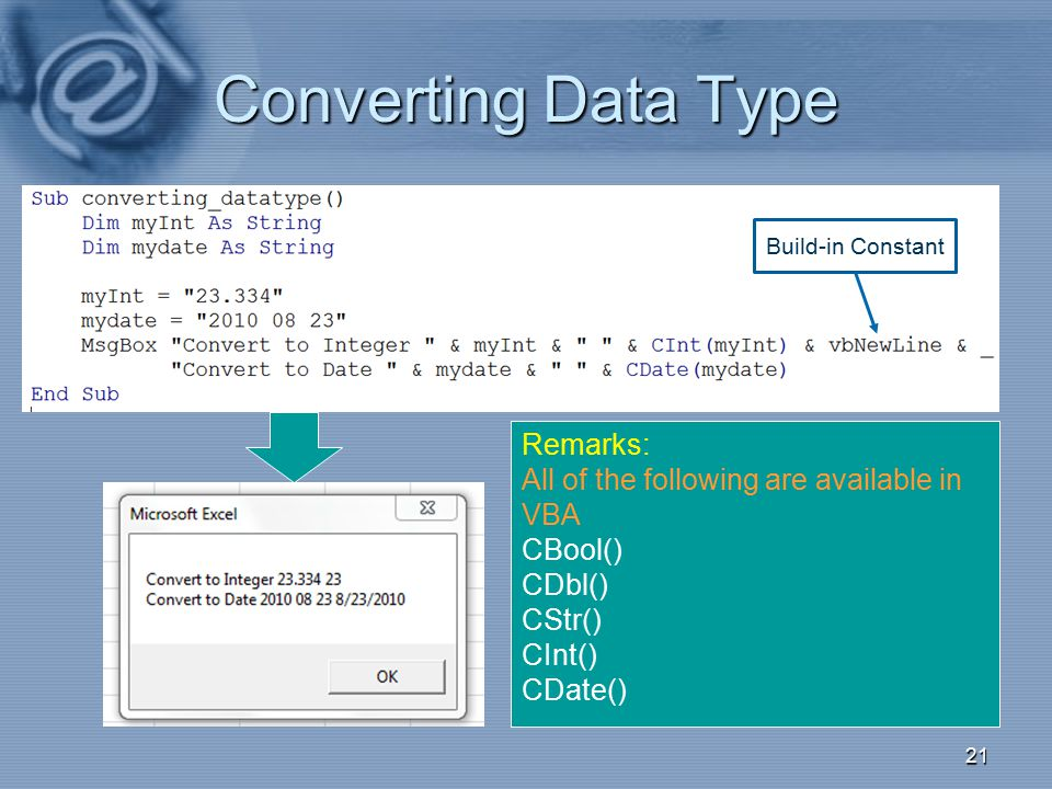 Converting Data Type Remarks: