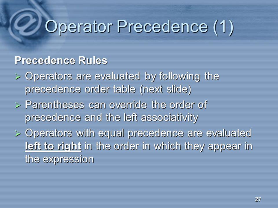 Operator Precedence (1)