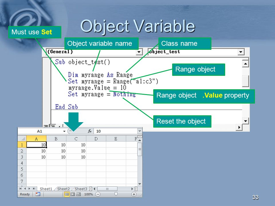 Object Variable Must use Set Object variable name Class name