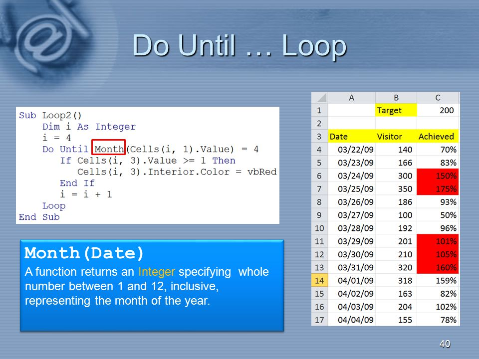 Do Until … Loop Month(Date)
