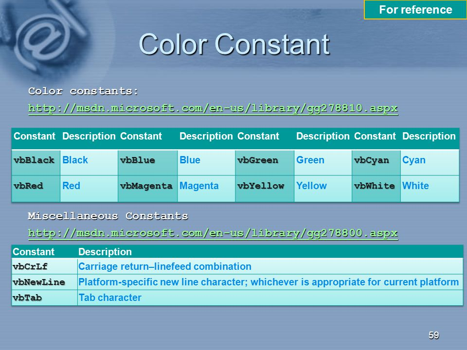 Color Constant For reference