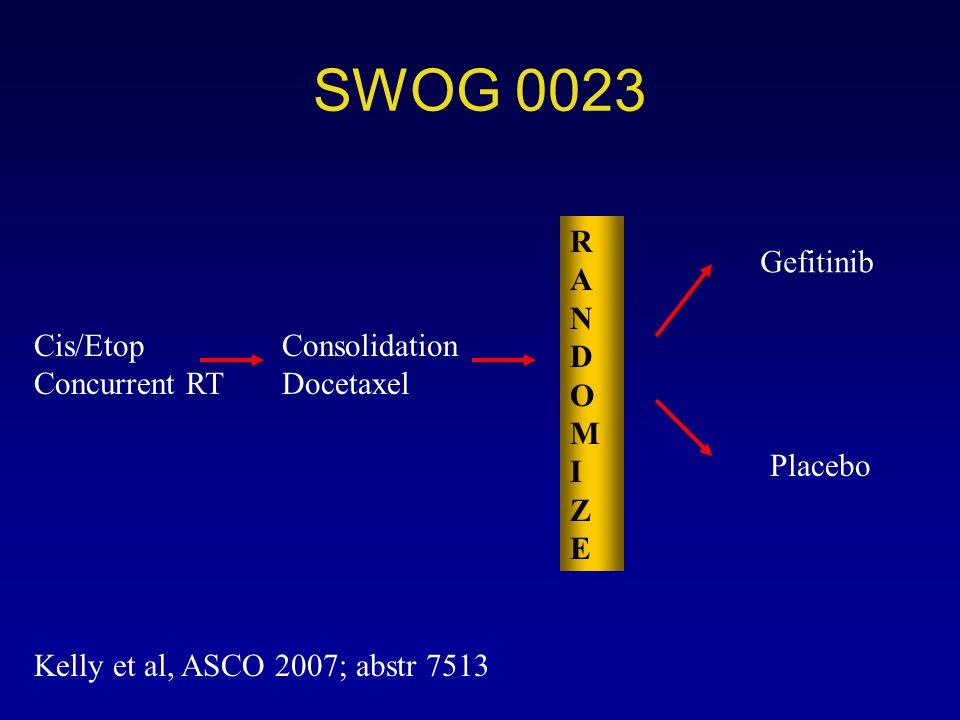 SWOG 0023 R ANDOM I Z E Gefitinib Cis/Etop Concurrent RT Consolidation