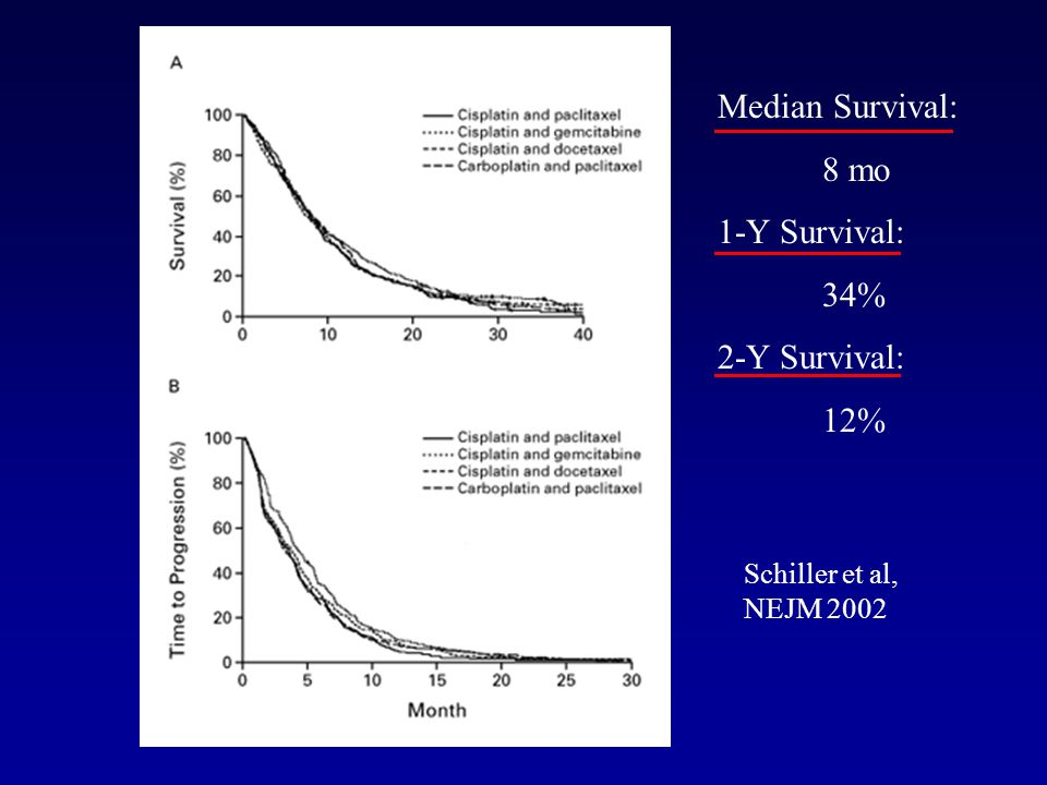 Median Survival: 8 mo 1-Y Survival: 34% 2-Y Survival: 12%