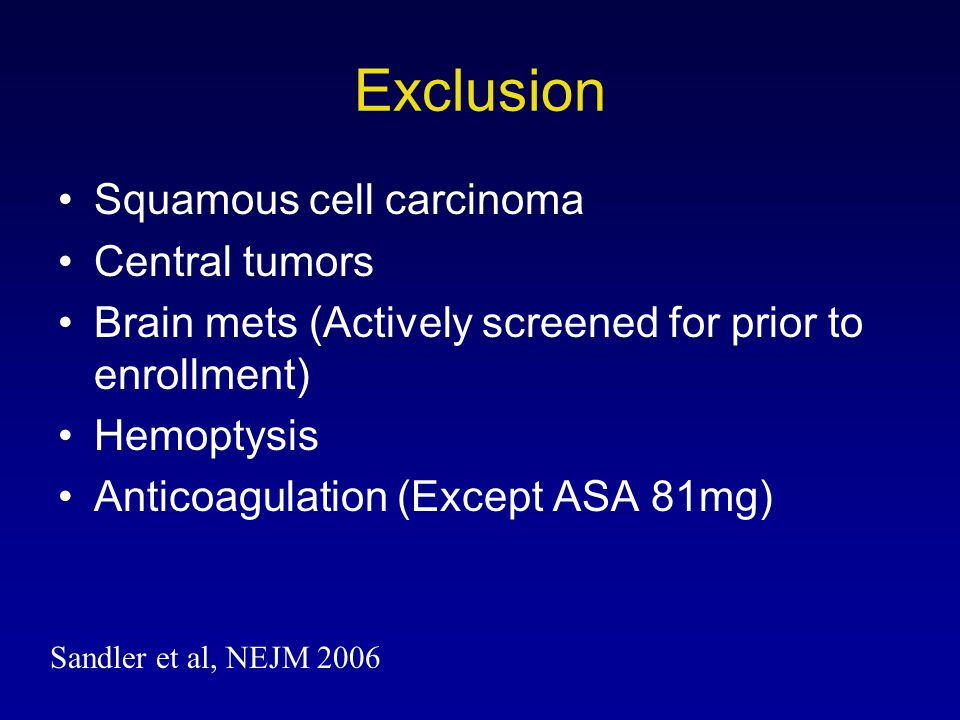 Exclusion Squamous cell carcinoma Central tumors