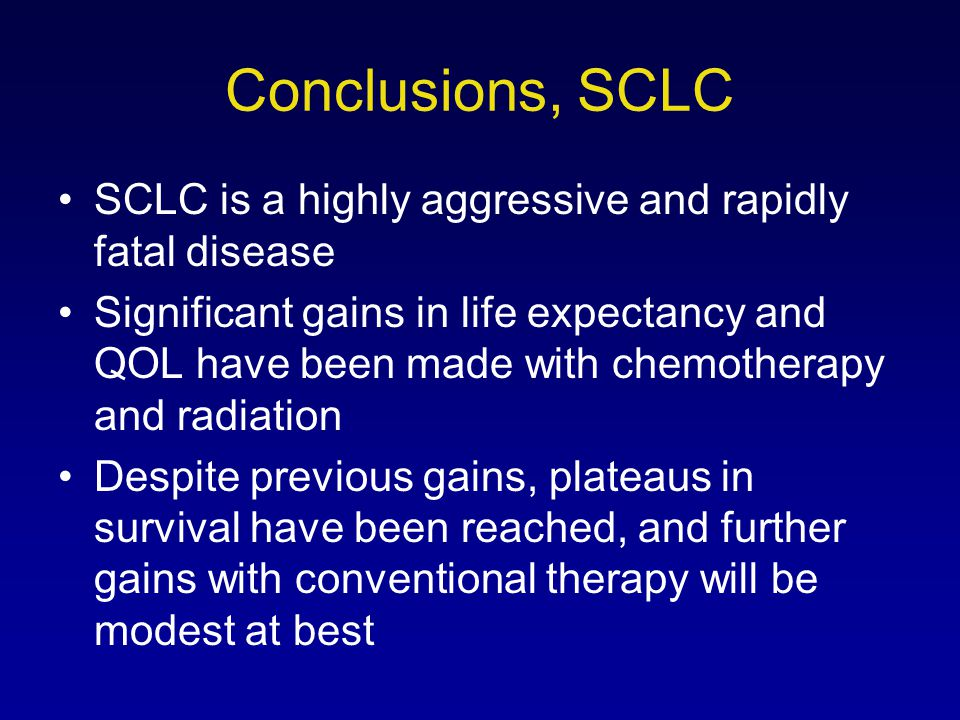 Conclusions, SCLC SCLC is a highly aggressive and rapidly fatal disease.