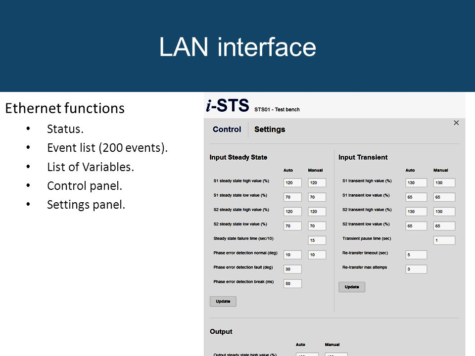 LAN interface Ethernet functions Status. Event list (200 events).