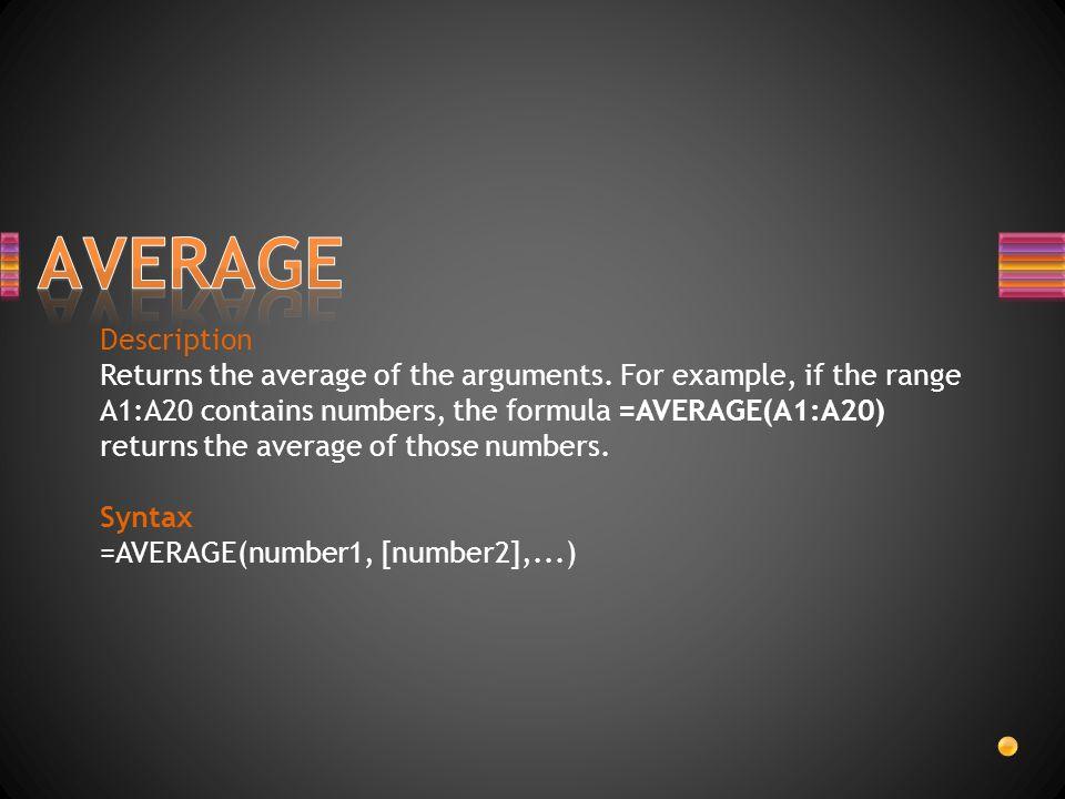 AVERAGE Description.