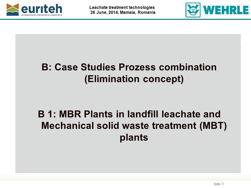 B: Case Studies Prozess combination (Elimination concept)