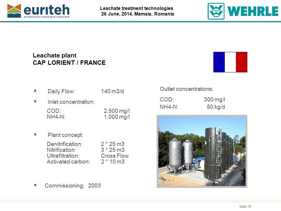 Leachate plant CAP LORIENT / FRANCE