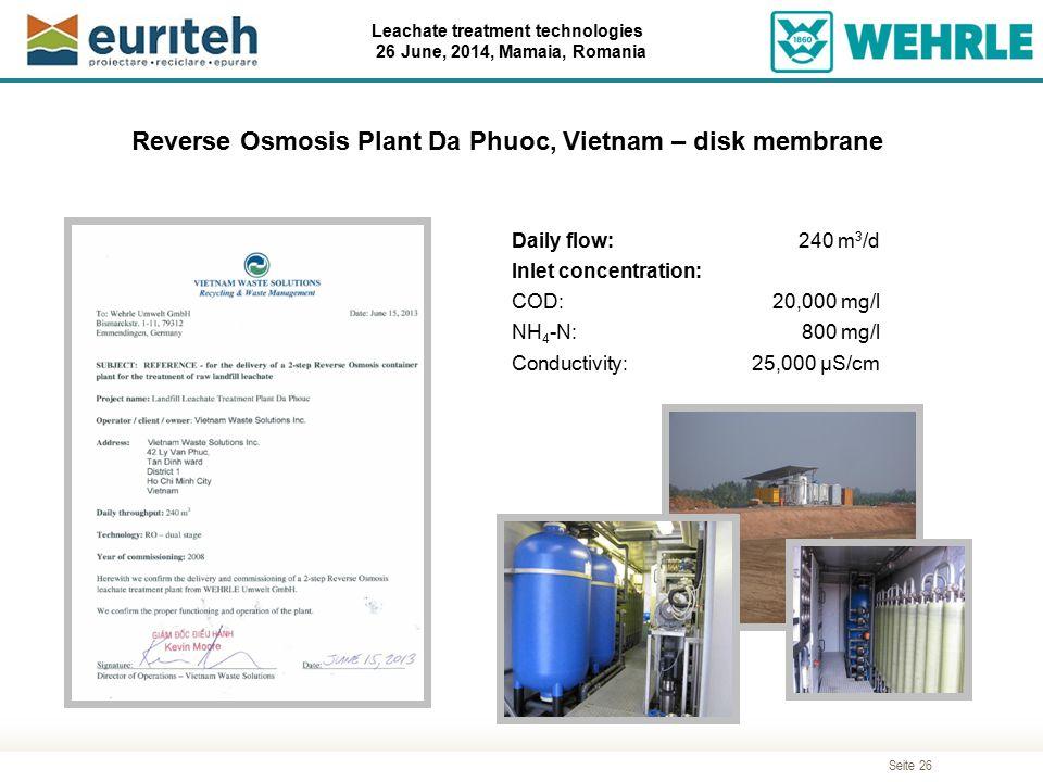 Reverse Osmosis Plant Da Phuoc, Vietnam – disk membrane