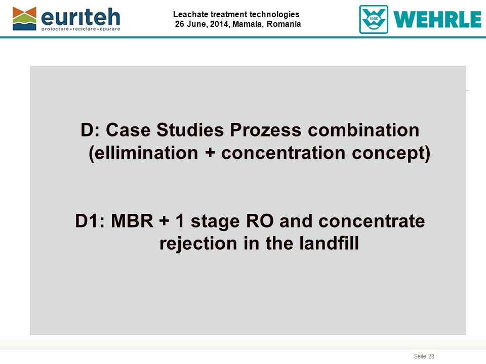 D1: MBR + 1 stage RO and concentrate rejection in the landfill