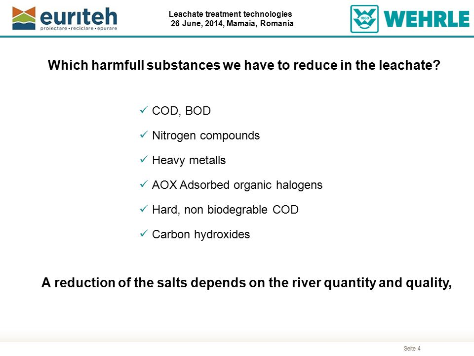 Which harmfull substances we have to reduce in the leachate